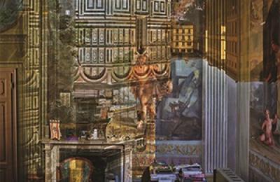 一张房间被用作暗箱的照片,墙上投影着佛罗伦萨大教堂的正面图像